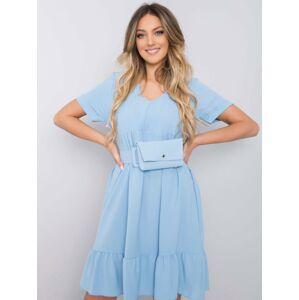 Dámské modré šaty s volánkem jedna velikost
