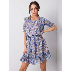 Khaki šaty s květinovým potiskem XS
