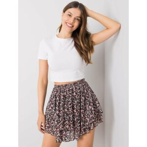 Černá mini sukně s květinami jedna velikost
