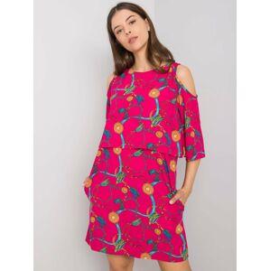 Fuchsiové šaty RUE PARIS se vzory S / M