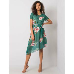 Dámské tmavě zelené květinové šaty 36