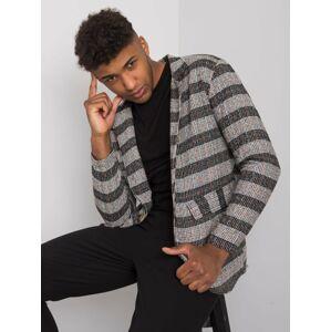 Černý a šedý pánský károvaný sako M