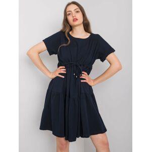 RUE PARIS Tmavě modré bavlněné šaty L / XL