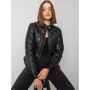 Černá prošívaná bunda z ekologické kůže S