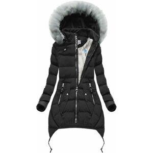 Černá dámská bunda s potisky (2503) czarny XXL (44)