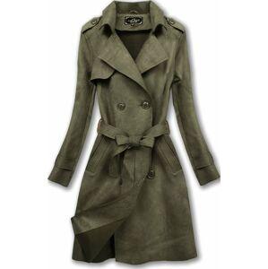 Dvouřadový semišový kabát v khaki barvě (6003) Khaki XL (42)