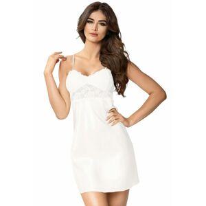Luxusní saténová noční košilka Venus ecru bílá XXL