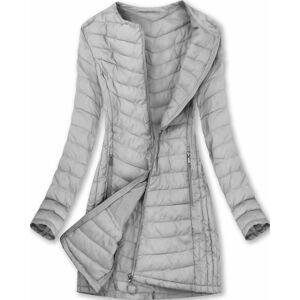 Dlouhá šedá dámská bunda (21809) Šedá L (40)