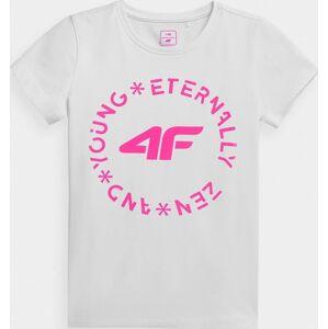 Dívčí tričko 4F JTSD005A Bílé Bílá 122