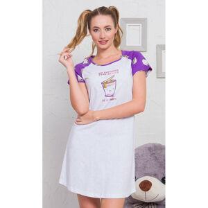 Dámská noční košile s krátkým rukávem Erika - Vienetta šedá-fialová XL