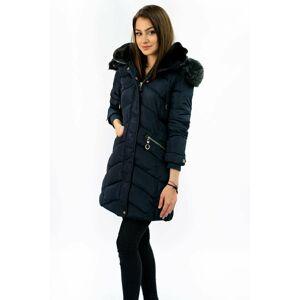 Dámská prošívaná zimní bunda s kapucí W732 - MHM tmavě modrá 2XL