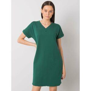 Dámské bavlněné šaty SK-6757 - RUE PARIS tmavě zelená M