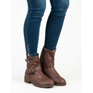 Dámské boty styl BIKER D669BR - ENCVR tmavě hnědá 37