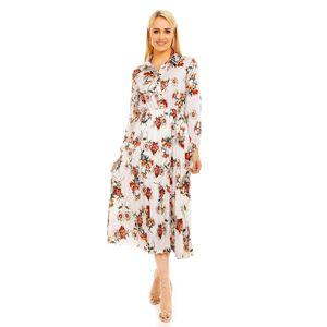 Dámské košilové šaty s potiskem květin dlouhé bílé - Bílá - LULU&LOVE bílá L