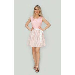 Dámské rozšířené šaty 3054/1 - Made in Italy světle růžová S