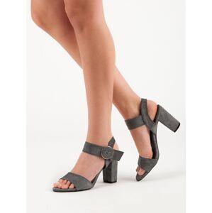 Výborné  sandály dámské šedo-stříbrné na širokém podpatku 36