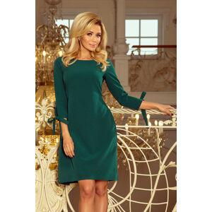 Dámské šaty ALICE s 3/4 rukávem a mašlí zelené středně dlouhé - Zelená - Numoco zelená S