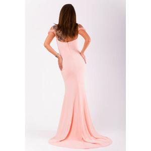Dámské šaty EVA&LOLA růžové na ramínka dlouhé s vlečkou - Růžová / S - EVA&LOLA růžová S