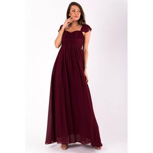 Dámské šaty EVA&LOLA s rukávkem dlouhé bordó - Bordó / S - EVA&LOLA bordó L
