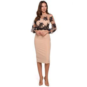 Dámské šaty K013 - Makover béžovo-černá 42/XL