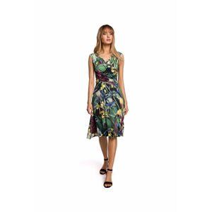 Dámské šaty M499 - MOE zelená s květy XXL
