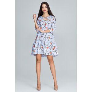 Dámské šaty M598 - Figl sv. modrá s potiskem S/M