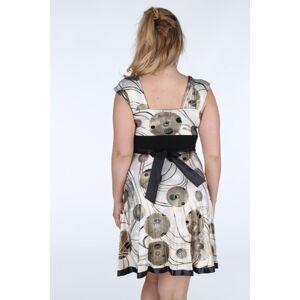 Dámské šaty pro plnoštíhlé se zlatými detaily a s volnou sukní - Béžová - Efect 42