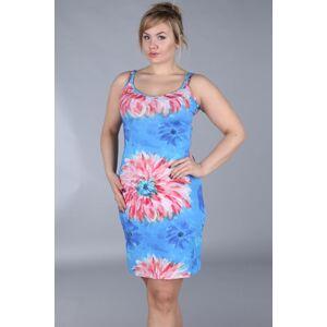 Dámské šaty pro plnoštíhlé na ramínka květinový vzor - Modrá / 42 - Efect 42