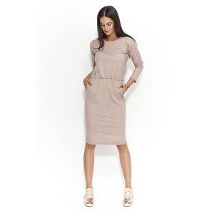 Dámské šaty s volným střihem středně dlouhé capuccino - Hnědá - Numinou hnědá 42
