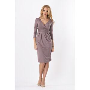 Dámské šaty značkové s 3/4 rukávem vhodné i pro těhotné capuccino - Hnědá / XL - BeYou hnědá 42