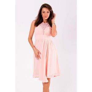 Dámské společenské šaty EVA&LOLA středně dlouhé růžové - Růžová / S - EVA&LOLA S