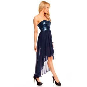 Dámské společenské šaty korzetové MAYAADI s asymetrickou sukní tm. modré - Tmavě modrá - MAYAADI L