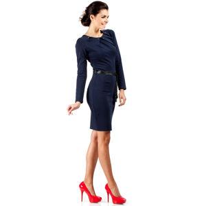 Dámské společenské šaty s páskem tmavě modré - Tmavě modrá - MOE 40