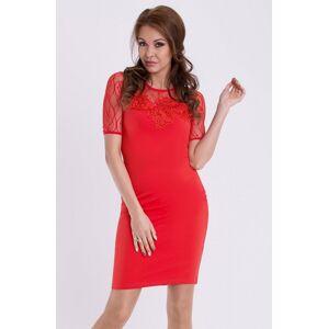 Dámské společenské šaty s krátkým rukávem EMAMODA červené - Červená - YNS červená S