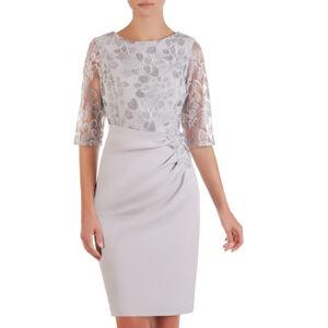 Dámské společenské šaty model 133780 - Jersa světle šedá 50