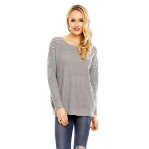 Dámský svetr s ozdobnými perličkami šedý - Šedá / UNI - House Style šedá uni