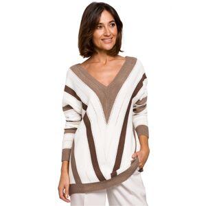 Dámský svetr S218 - BEwear hnědá-bílá L/XL