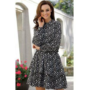 Denní šaty L281 - Lemoniade  černá-puntík S