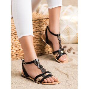 Designové černé dámské  sandály na plochém podpatku 37