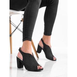 Designové černé dámské  sandály na širokém podpatku 36