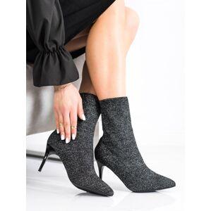 Designové černé  kotníčkové boty dámské na jehlovém podpatku 36