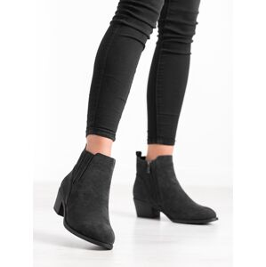Designové  kotníčkové boty černé dámské na širokém podpatku 36
