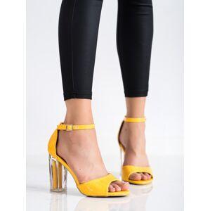 Designové  sandály zlaté dámské na širokém podpatku 36