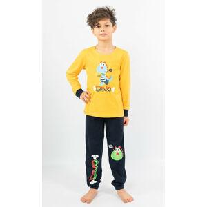 Dětské pyžamo dlouhé Dino žlutá 3 - 4