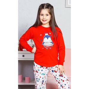 Dětské pyžamo dlouhé Tučňák velký červená 13 - 14