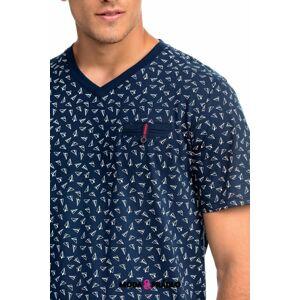 Elegantní pánská košile na spaní Vamp 14748 tmavě modrá - vzor XL