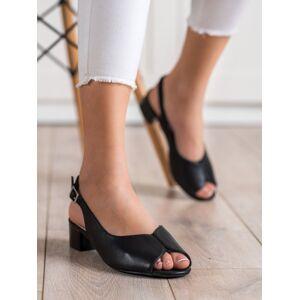 Exkluzívní dámské  sandály černé na širokém podpatku 37