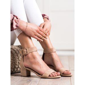 Exkluzívní hnědé dámské  sandály na širokém podpatku 37