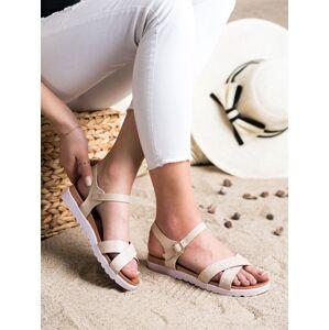 Exkluzívní hnědé  sandály dámské bez podpatku 37