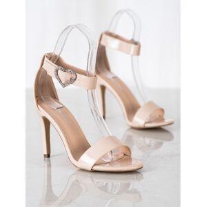 Exkluzívní  sandály hnědé dámské na jehlovém podpatku 36
